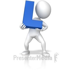ID# 7708 - Stick Figure Holding Letter L - Presentation Clipart