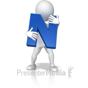 ID# 7710 - Stick Figure Holding Letter N - Presentation Clipart
