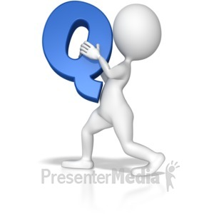 ID# 7713 - Stick Figure Holding Letter Q - Presentation Clipart