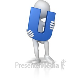 ID# 7717 - Stick Figure Holding Letter U - Presentation Clipart