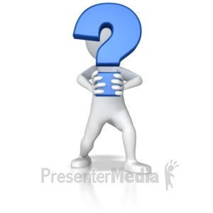 ID# 7803 - Stick Figure Holding Question Mark - Presentation Clipart