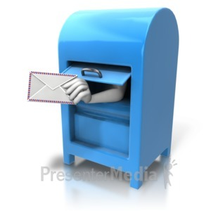 ID# 7806 - Mailbox Hand With Letter - Presentation Clipart