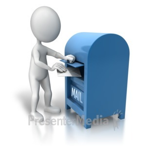 ID# 7811 - Dropping Off Mail - Presentation Clipart