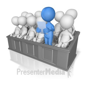 ID# 7816 - Jury Box Foreman Read Verdict - Presentation Clipart