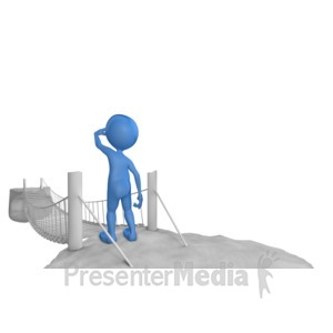 ID# 7822 - Standing In Front Of Rope Bridge - Presentation Clipart