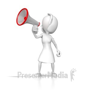 ID# 7875 - Woman With Megaphone - Presentation Clipart