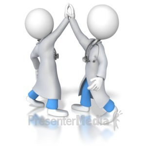 ID# 7904 - Doctors or Nurses High Five - Presentation Clipart