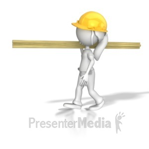 ID# 7954 - Woman Carpenter Carrying Wood - Presentation Clipart