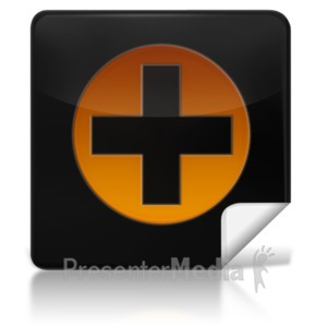 ID# 7965 - Medical Plus Symbol Square Icon - Presentation Clipart