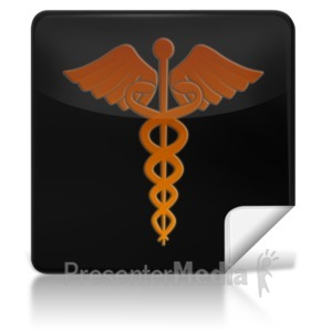 ID# 7977 - Caduceus Medical Symbol Square Icon - Presentation Clipart