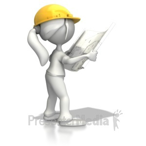 ID# 7980 - Woman Reading Blueprints - Presentation Clipart