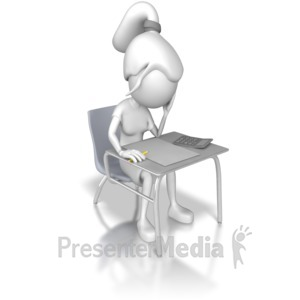 ID# 7989 - Woman Taking a Test - Presentation Clipart