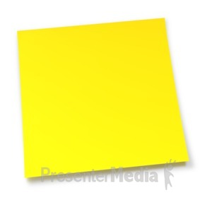 ID# 7998 - Blank Yellow Sticky Note - Presentation Clipart