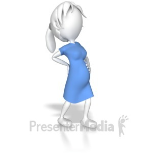 ID# 8011 - Woman Pregnant Holding Back - Presentation Clipart
