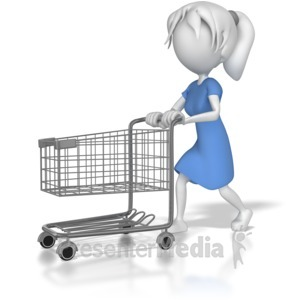 ID# 8020 - Woman with Shopping Cart - Presentation Clipart