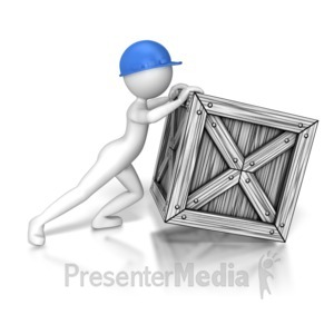ID# 8029 - Stick Figure Trying To Push Crate - Presentation Clipart