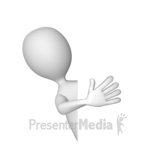 ID# 8144 - Stick Figure Peek Around - Presentation Clipart