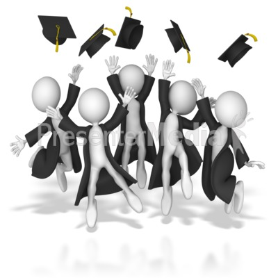 Grads Throwing Up Hats PowerPoint Clip Art