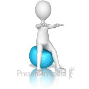 ID# 8166 - Stick Figure Squatting  on a Exercise Ba - Presentation Clipart