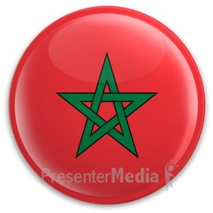 ID# 8184 - Badge Button Morocco Flag - Presentation Clipart