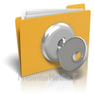 ID# 8207 - Folder Lock And Key - Presentation Clipart