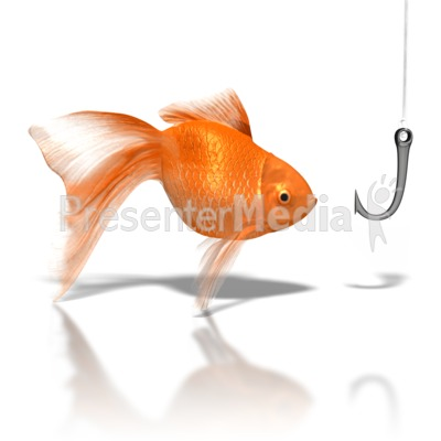 Goldfish Looking At Hook PowerPoint Clip Art