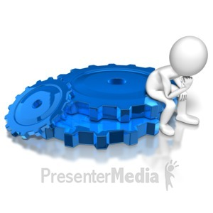 ID# 8247 - Stick Figure Sitting On Gears - Presentation Clipart