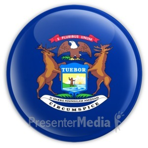 ID# 8267 - Badge of Michigan - Presentation Clipart