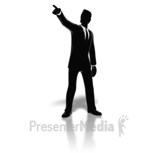 ID# 8340 - Businessman Pointing Silhouette - Presentation Clipart