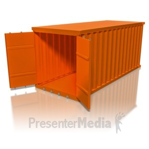ID# 8365 - Cargo Container Open - Presentation Clipart