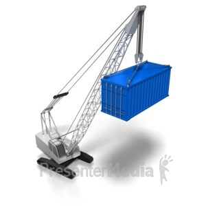 ID# 8388 - Crane Lifting Cargo Container - Presentation Clipart