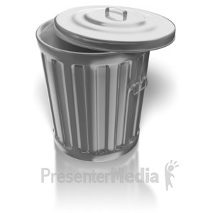 ID# 8393 - Shiny Metal Garbage Can - Presentation Clipart