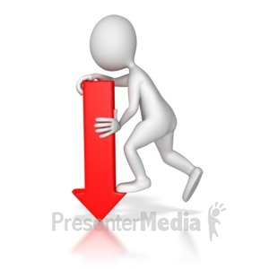 ID# 8425 - Stick Figure Pointing Red Arrow Down - Presentation Clipart