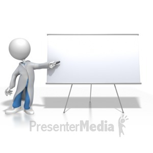ID# 8442 - Doctor or Nurse Presenting Blank Board - Presentation Clipart
