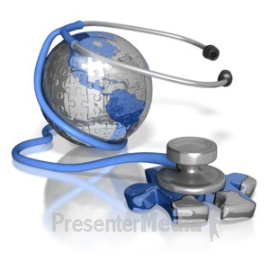 ID# 8457 - Stethoscope Puzzle Piece Earth America - Presentation Clipart
