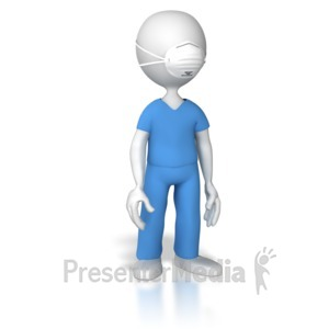 ID# 8465 - Nurse or Doctor With Protective Mask - Presentation Clipart