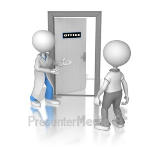 ID# 8482 - Doctor or Nurse Shows The Way - Presentation Clipart
