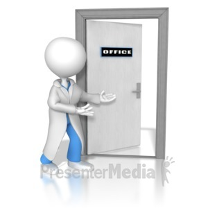 ID# 8483 - Doctor or Nurse Opening The Door - Presentation Clipart