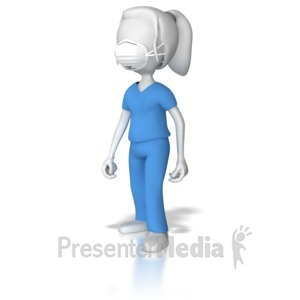 ID# 8493 - Female Nurse With Protective Mask - Presentation Clipart