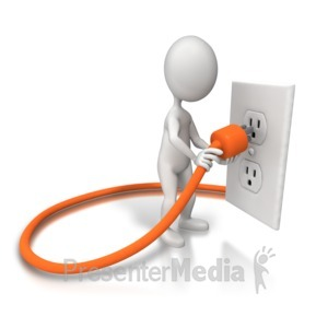 ID# 8511 - Plugging In Cord Outlet - Presentation Clipart
