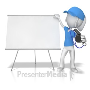 ID# 8512 - Female Coach at Whiteboard - Presentation Clipart