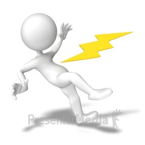 ID# 8542 - Shocked With Electricity - Presentation Clipart
