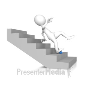 ID# 8544 - Stick Figure Falling Down The Stairs - Presentation Clipart