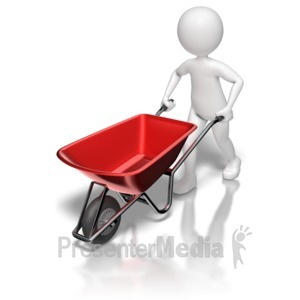 ID# 8579 - Stick Figure Pushing Wheel Barrow - Presentation Clipart