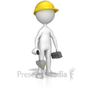 ID# 8581 - Mason With Bick And Trowel - Presentation Clipart