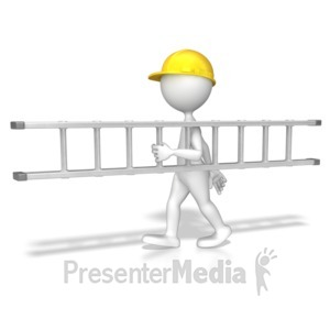 ID# 8585 - Stick Figure Carrying A Ladder - Presentation Clipart