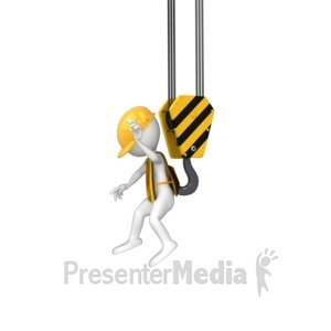 ID# 8617 - Stick Figure Grabbed By Hook - Presentation Clipart