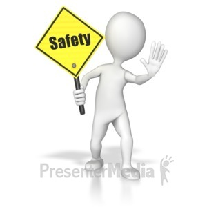 ID# 8622 - Stick Figure Holding A Saftey Sign - Presentation Clipart