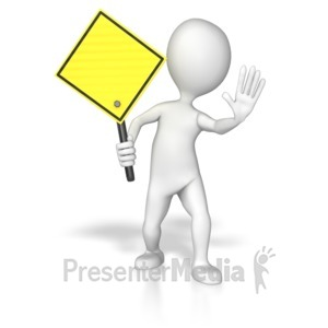 ID# 8623 - Stick Figure Holding A Yellow Sign - Presentation Clipart