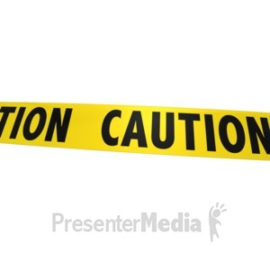 ID# 8624 - Single Piece Of Caution Tape - Presentation Clipart